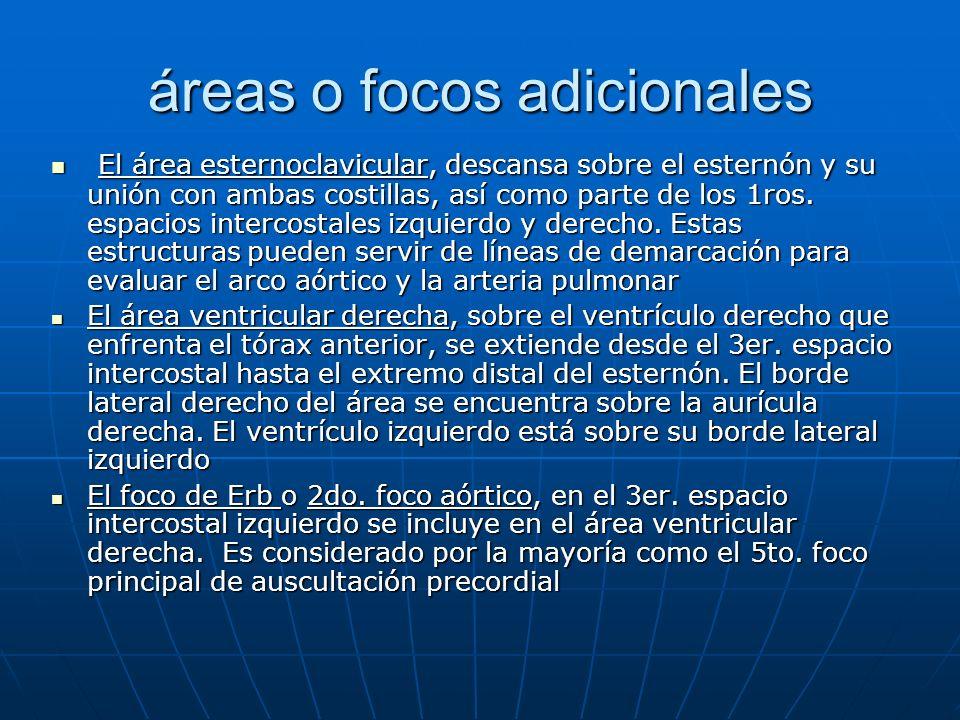 áreas o focos adicionales El área esternoclavicular, descansa sobre el esternón y su unión con ambas costillas, así como parte de los 1ros. espacios i