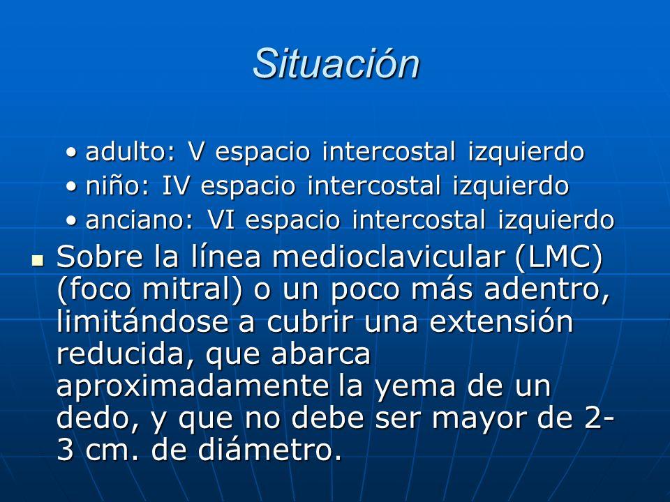 Situación adulto: V espacio intercostal izquierdoadulto: V espacio intercostal izquierdo niño: IV espacio intercostal izquierdoniño: IV espacio interc