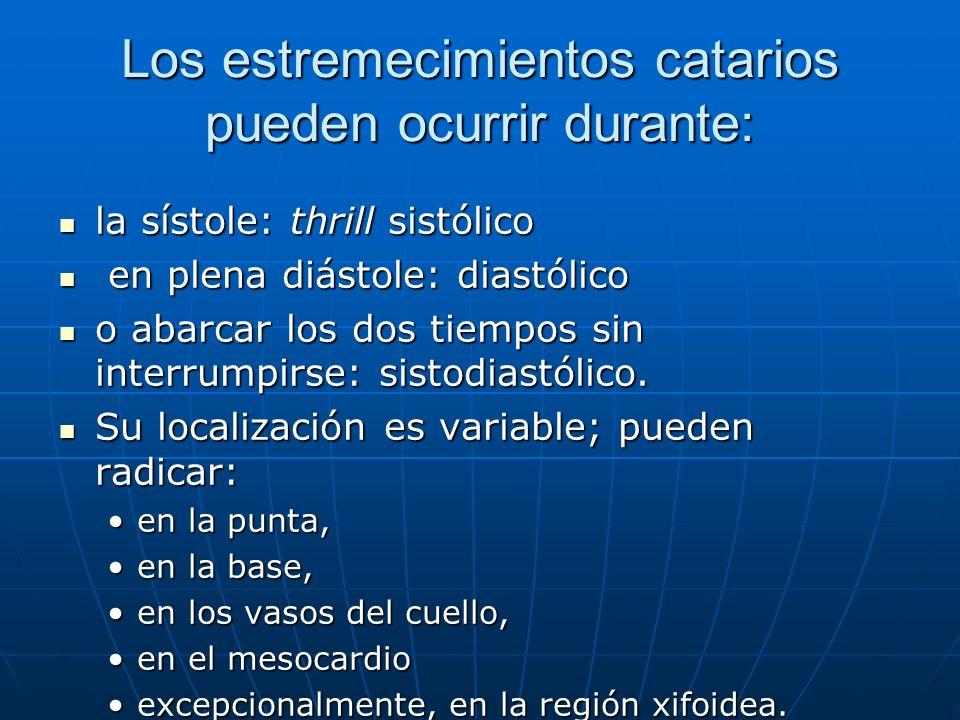 Los estremecimientos catarios pueden ocurrir durante: la sístole: thrill sistólico la sístole: thrill sistólico en plena diástole: diastólico en plena