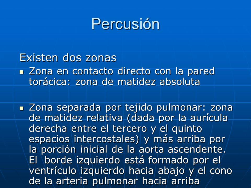 Percusión Existen dos zonas Zona en contacto directo con la pared torácica: zona de matidez absoluta Zona en contacto directo con la pared torácica: z