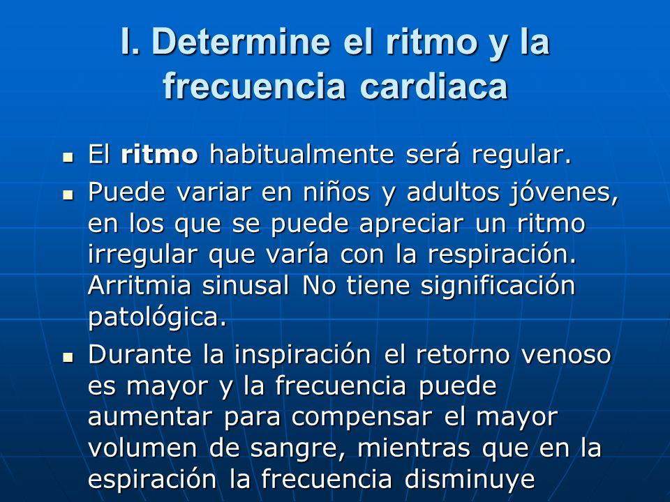 I. Determine el ritmo y la frecuencia cardiaca El ritmo habitualmente será regular. El ritmo habitualmente será regular. Puede variar en niños y adult