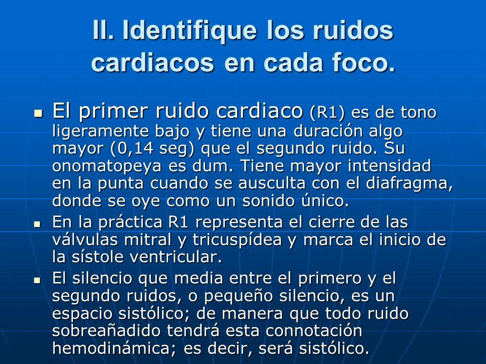 II. Identifique los ruidos cardiacos en cada foco. El primer ruido cardiaco (R1) es de tono ligeramente bajo y tiene una duración algo mayor (0,14 seg
