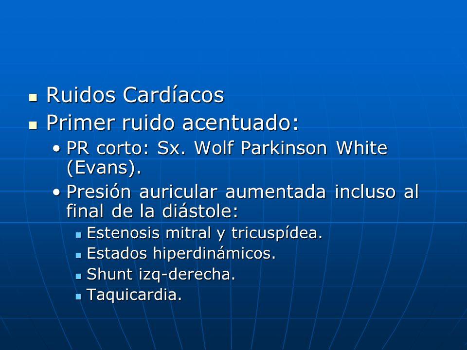 Ruidos Cardíacos Ruidos Cardíacos Primer ruido acentuado: Primer ruido acentuado: PR corto: Sx. Wolf Parkinson White (Evans).PR corto: Sx. Wolf Parkin