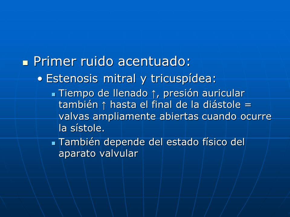 Primer ruido acentuado: Primer ruido acentuado: Estenosis mitral y tricuspídea:Estenosis mitral y tricuspídea: Tiempo de llenado, presión auricular ta