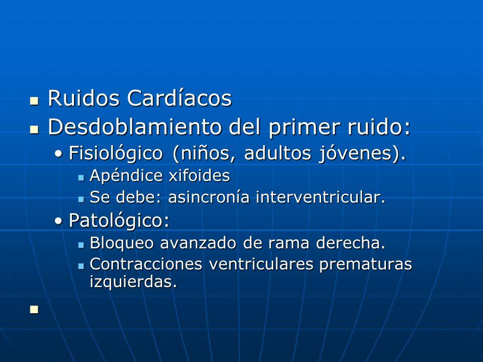Ruidos Cardíacos Ruidos Cardíacos Desdoblamiento del primer ruido: Desdoblamiento del primer ruido: Fisiológico (niños, adultos jóvenes).Fisiológico (
