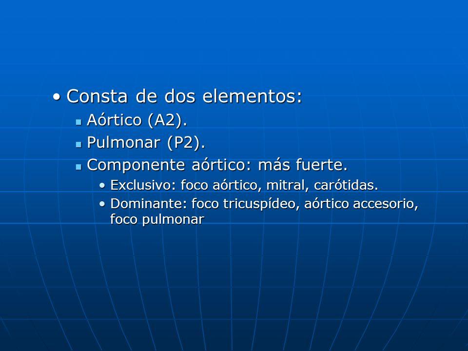 Consta de dos elementos:Consta de dos elementos: Aórtico (A2). Aórtico (A2). Pulmonar (P2). Pulmonar (P2). Componente aórtico: más fuerte. Componente