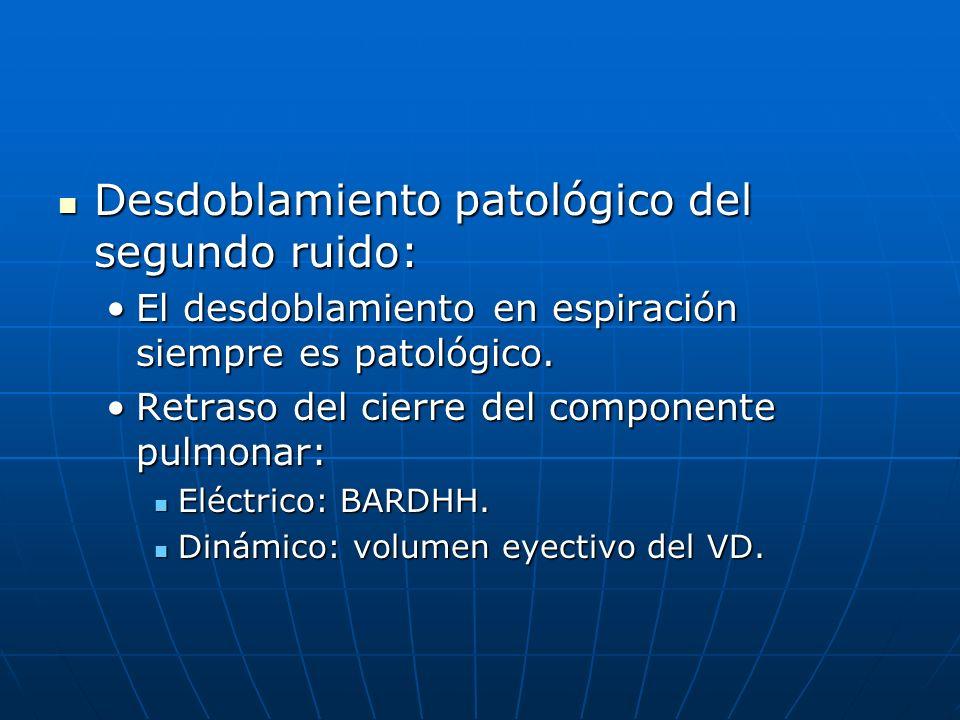 Desdoblamiento patológico del segundo ruido: Desdoblamiento patológico del segundo ruido: El desdoblamiento en espiración siempre es patológico.El des