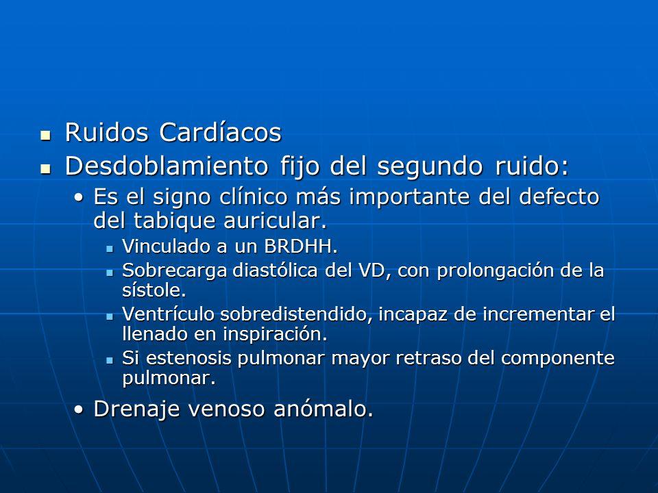 Ruidos Cardíacos Ruidos Cardíacos Desdoblamiento fijo del segundo ruido: Desdoblamiento fijo del segundo ruido: Es el signo clínico más importante del