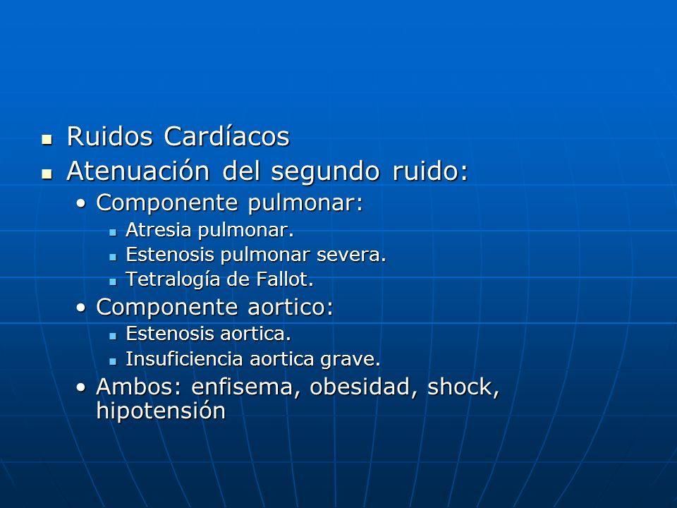 Ruidos Cardíacos Ruidos Cardíacos Atenuación del segundo ruido: Atenuación del segundo ruido: Componente pulmonar:Componente pulmonar: Atresia pulmona
