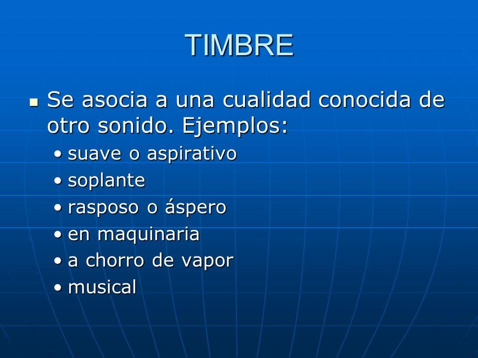 TIMBRE Se asocia a una cualidad conocida de otro sonido. Ejemplos: Se asocia a una cualidad conocida de otro sonido. Ejemplos: suave o aspirativosuave