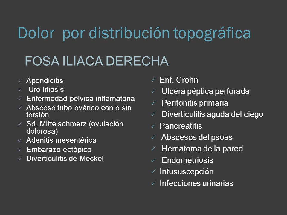 Dolor por distribución topográfica FOSA ILIACA DERECHA Apendicitis Uro litiasis Enfermedad pélvica inflamatoria Absceso tubo ovárico con o sin torsión