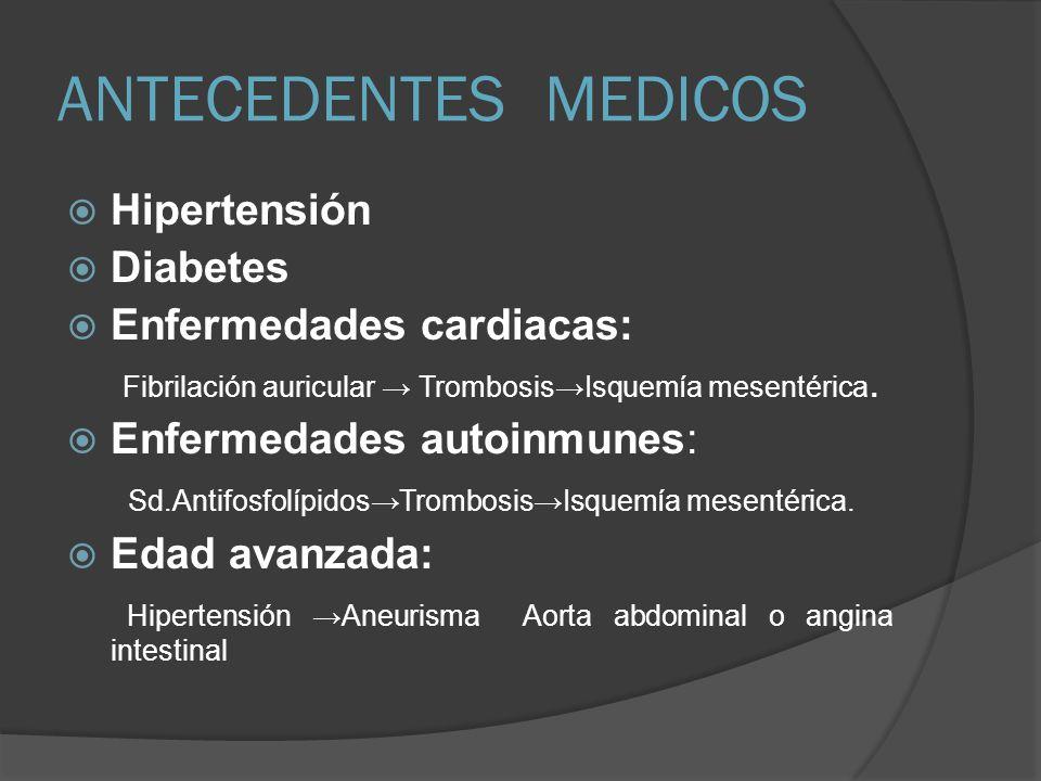 ANTECEDENTES MEDICOS Hipertensión Diabetes Enfermedades cardiacas: Fibrilación auricular TrombosisIsquemía mesentérica. Enfermedades autoinmunes: Sd.A