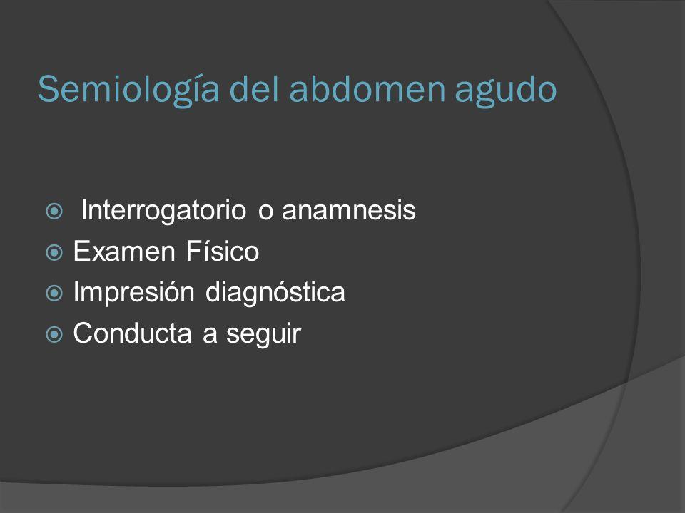 ABDOMEN AGUDO VERDADERO INFLAMATORIO OBSTRUCTIVO ISQUEMICO HEMORRAGICO Todas la demás patologías se pueden encasillar en algunos de estos tipos, y constituyen la materia real del cirujano.