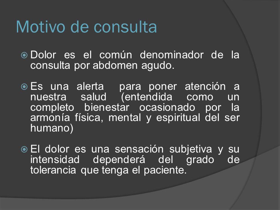 Motivo de consulta Dolor es el común denominador de la consulta por abdomen agudo. Es una alerta para poner atención a nuestra salud (entendida como u