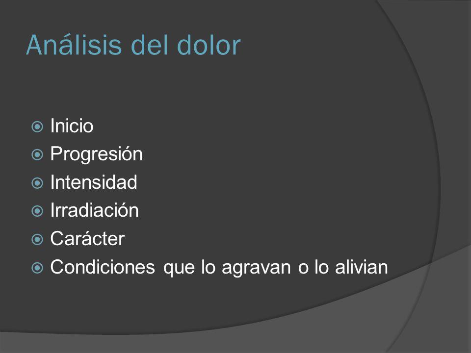 Dolor por distribución topográfica FOSA ILIACA DERECHA Apendicitis Uro litiasis Enfermedad pélvica inflamatoria Absceso tubo ovárico con o sin torsión Sd.