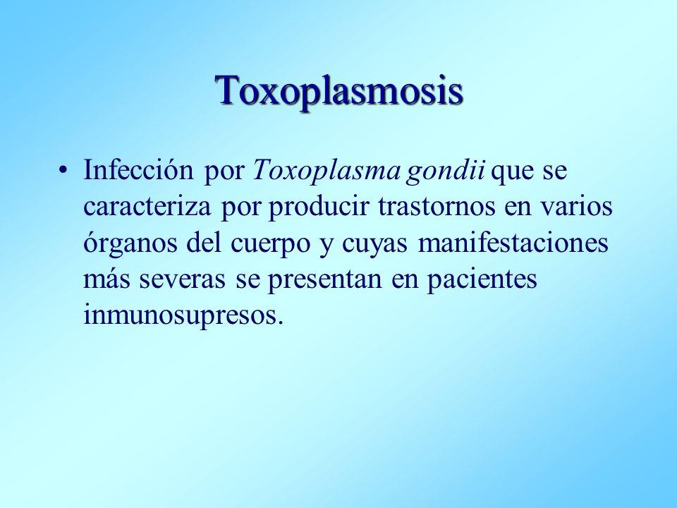 Toxoplasmosis Infección por Toxoplasma gondii que se caracteriza por producir trastornos en varios órganos del cuerpo y cuyas manifestaciones más seve