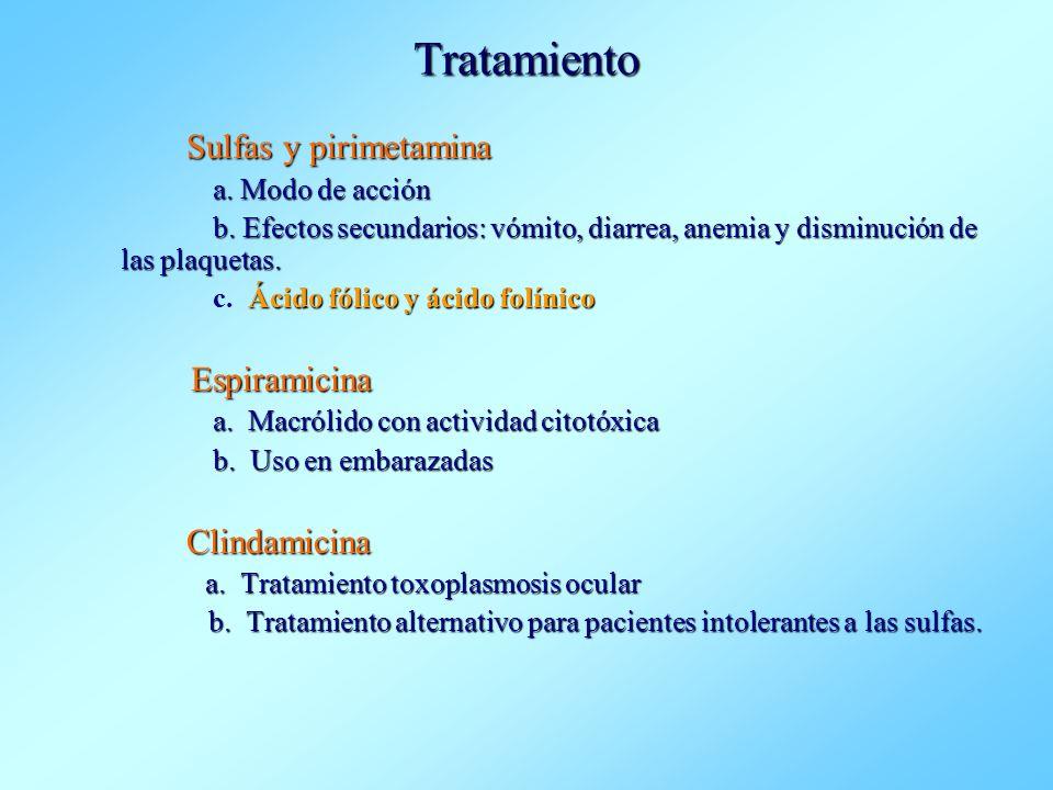 Tratamiento Sulfas y pirimetamina a. Modo de acción b. Efectos secundarios: vómito, diarrea, anemia y disminución de las plaquetas. b. Efectos secunda