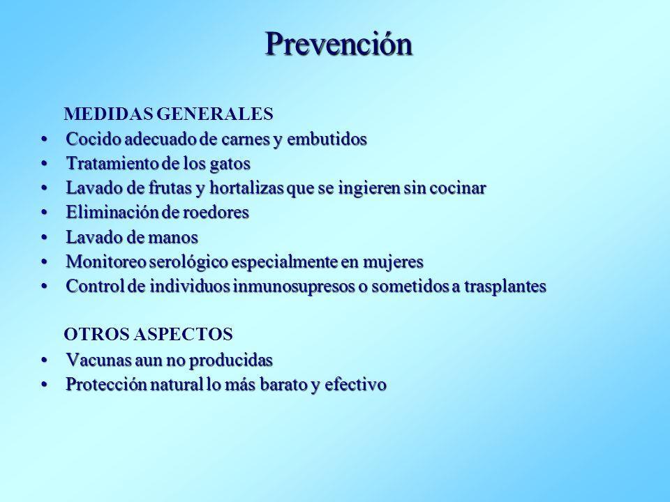 Prevención MEDIDAS GENERALES Cocido adecuado de carnes y embutidosCocido adecuado de carnes y embutidos Tratamiento de los gatosTratamiento de los gat