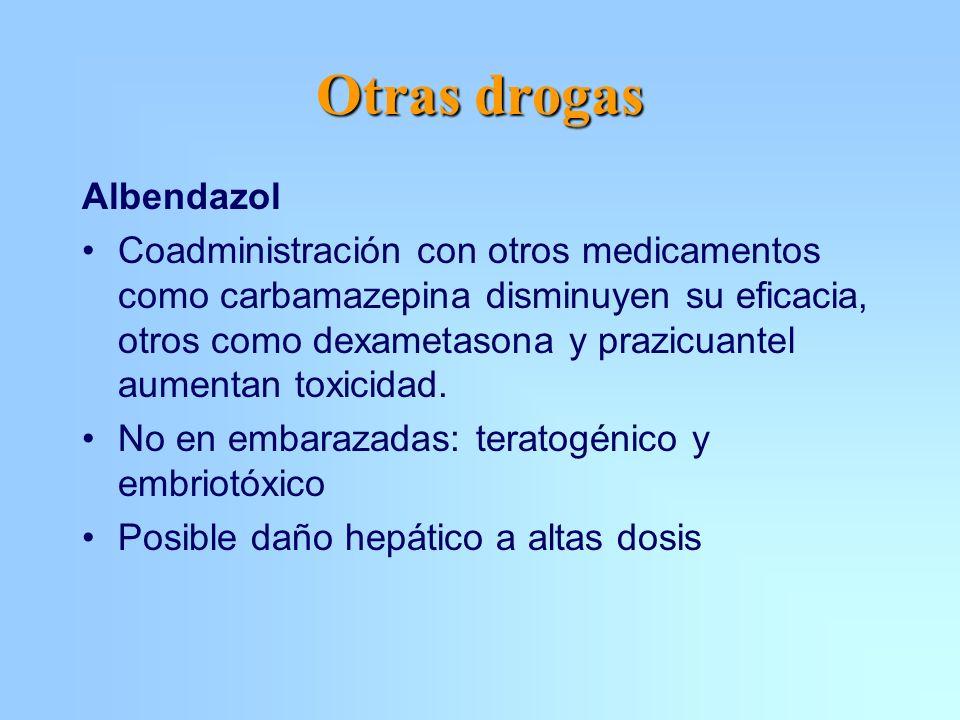 Otras drogas Albendazol Coadministración con otros medicamentos como carbamazepina disminuyen su eficacia, otros como dexametasona y prazicuantel aume