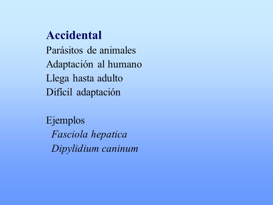 Accidental Parásitos de animales Adaptación al humano Llega hasta adulto Difícil adaptación Ejemplos Fasciola hepatica Dipylidium caninum