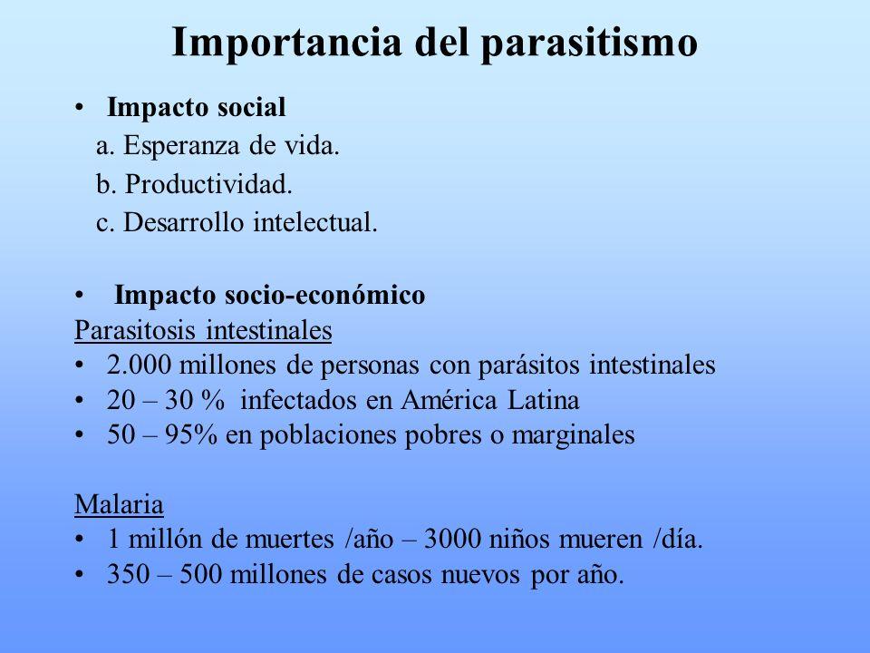 Importancia del parasitismo Impacto social a. Esperanza de vida. b. Productividad. c. Desarrollo intelectual. Impacto socio-económico Parasitosis inte