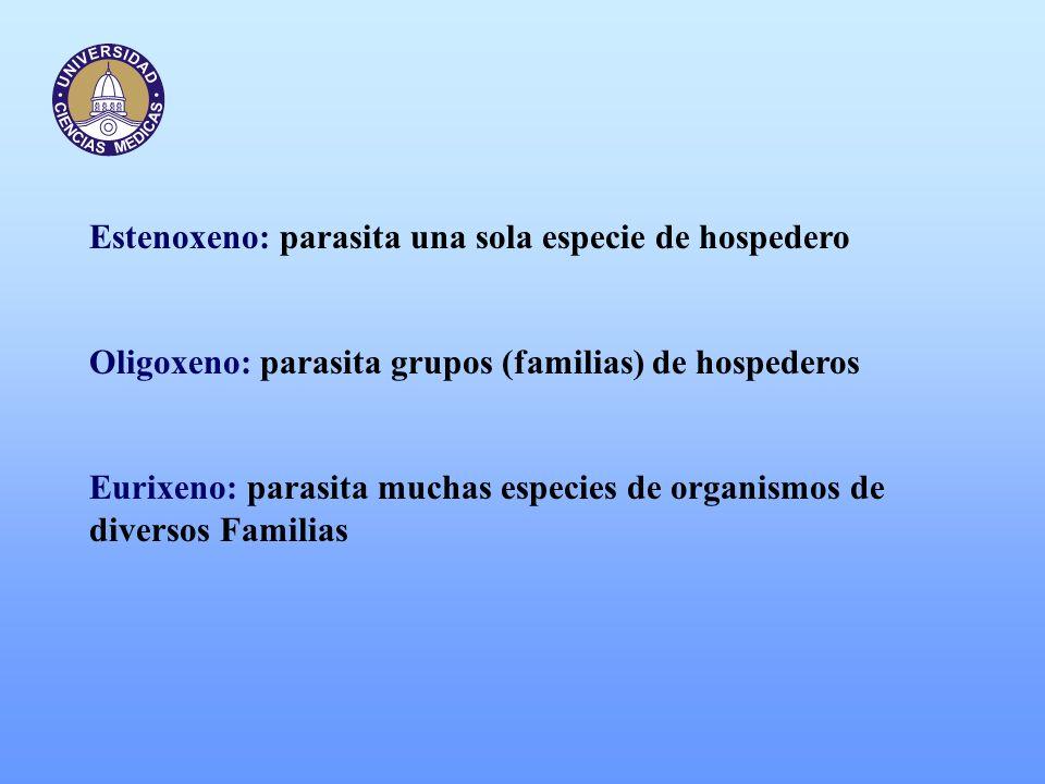 Estenoxeno: parasita una sola especie de hospedero Oligoxeno: parasita grupos (familias) de hospederos Eurixeno: parasita muchas especies de organismo