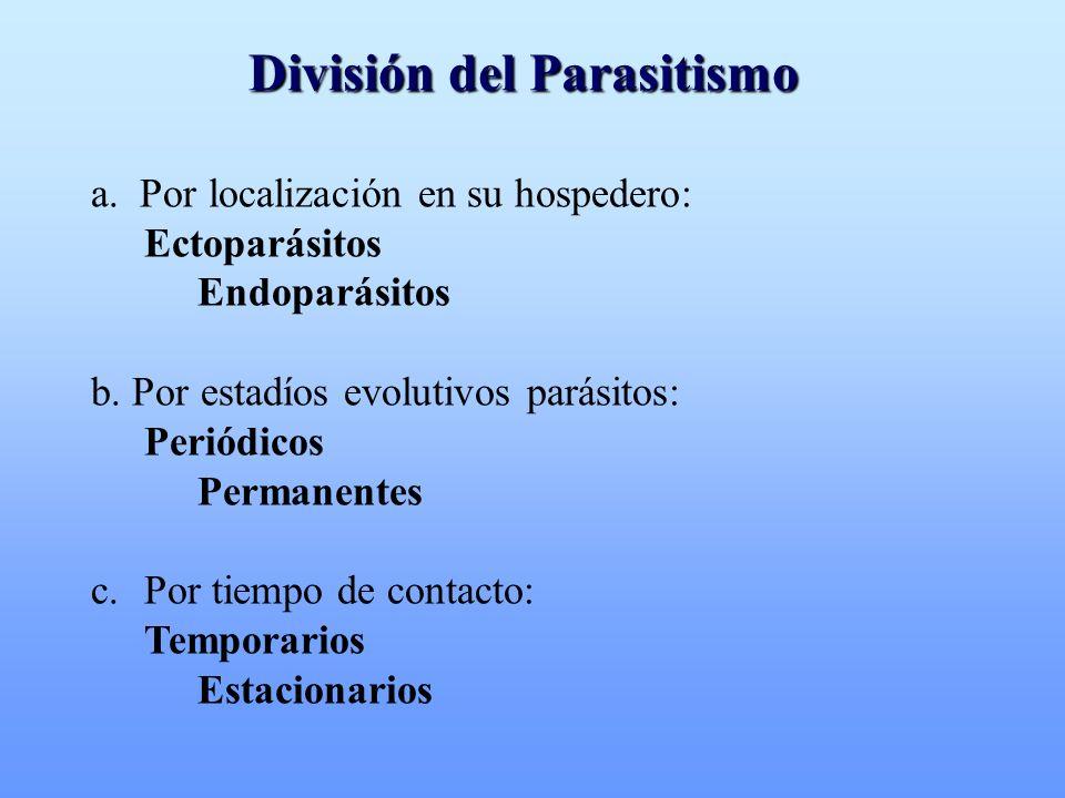Ectoparasitismo Periódico temporario: Culex, Aedes (mosquitos) estacionario: Dermatobia (tórsalo) Permanente temporario: Reduviidae (chinches bebe sangre) estacionario: Pediculus (piojos)