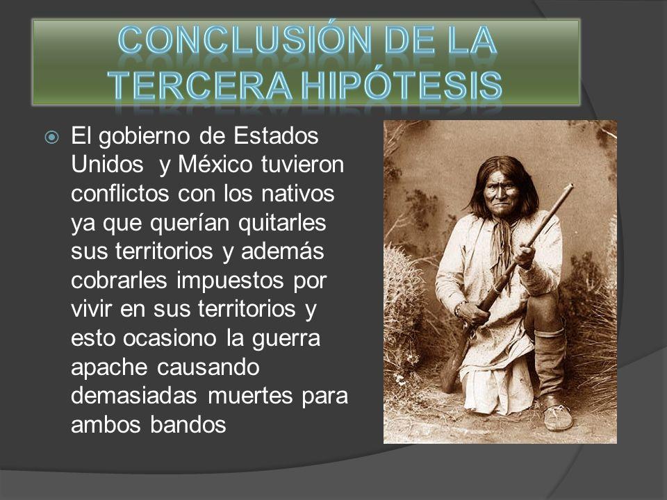 Con las tres hipótesis ya analizadas podemos determinar las causa de la casi extinción de los nativos por causas naturales por las enfermedades o por todos los conflictos que tuvieron primero con los europeos y luego con Estados Unidos y México