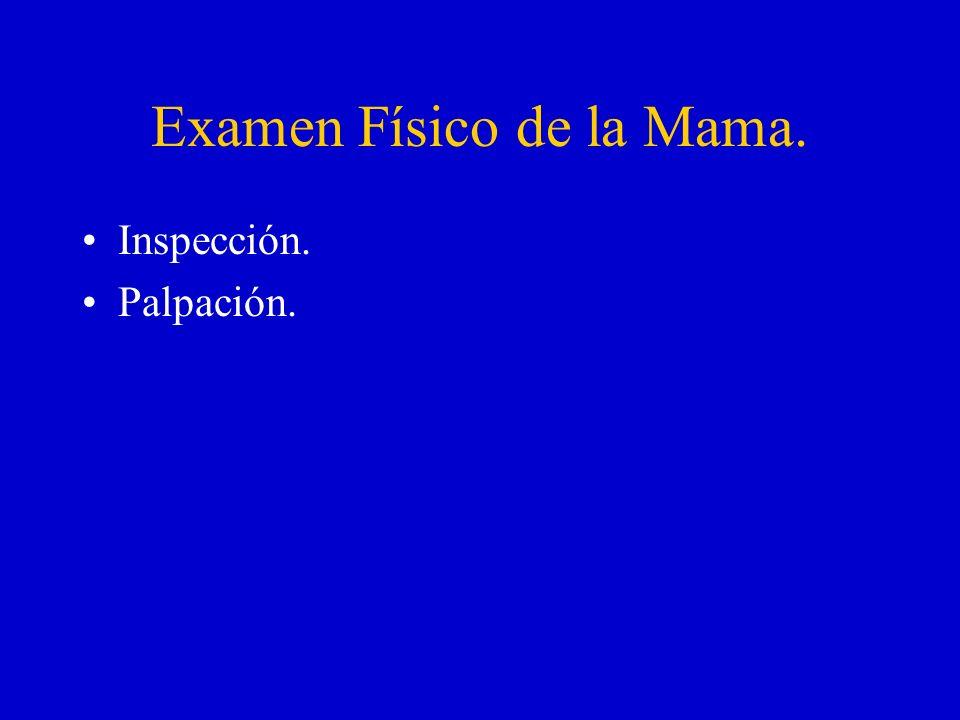 Examen Físico de la Mama. Inspección. Palpación.