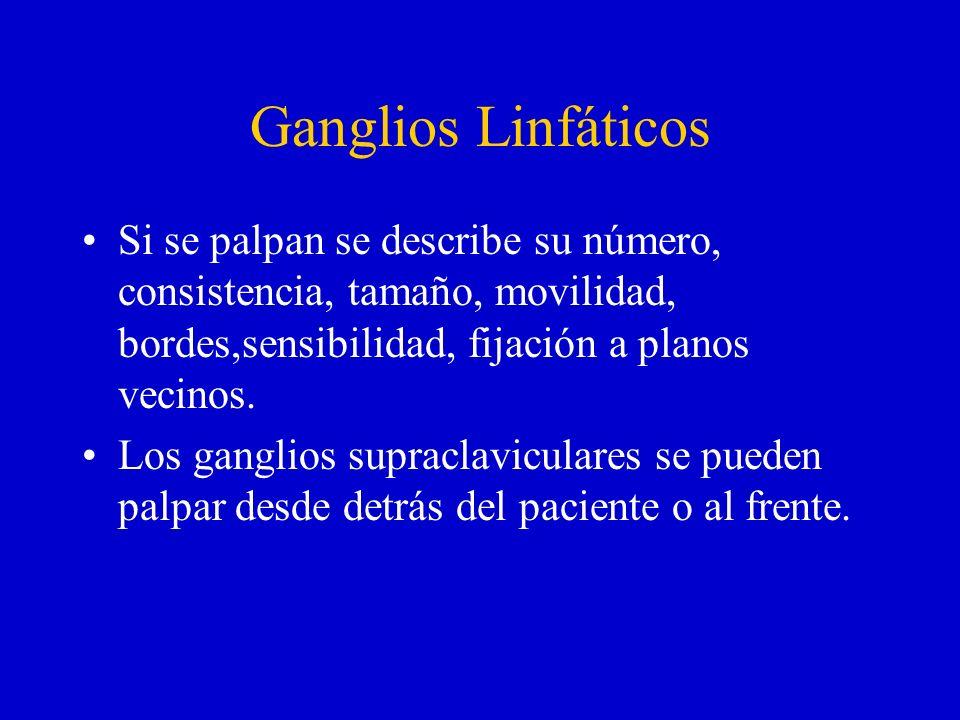 Ganglios Linfáticos Si se palpan se describe su número, consistencia, tamaño, movilidad, bordes,sensibilidad, fijación a planos vecinos. Los ganglios