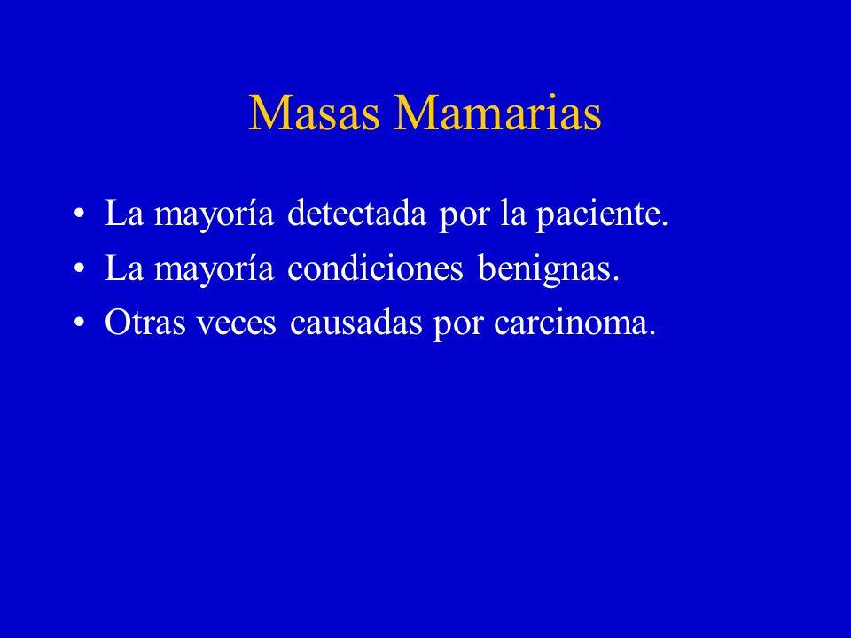 Masas Mamarias La mayoría detectada por la paciente. La mayoría condiciones benignas. Otras veces causadas por carcinoma.