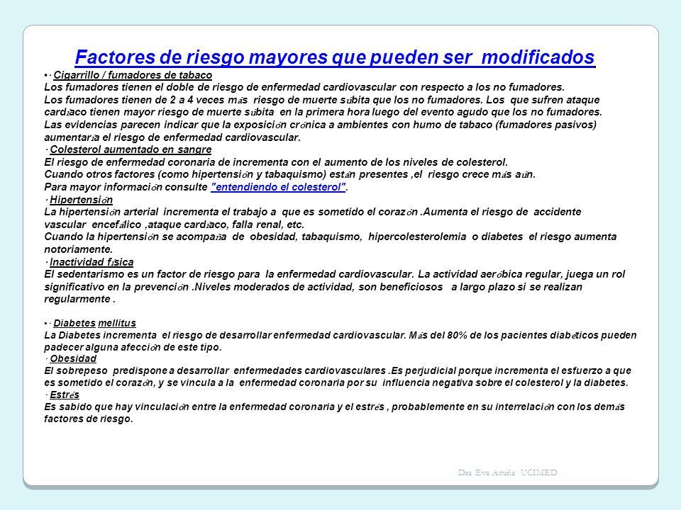 Dra Eva Acuña UCIMED Factores de riesgo mayores que pueden ser modificados · Cigarrillo / fumadores de tabaco Los fumadores tienen el doble de riesgo