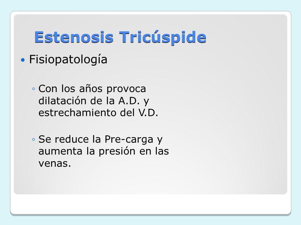 Estenosis Tricúspide Fisiopatología Con los años provoca dilatación de la A.D. y estrechamiento del V.D. Se reduce la Pre-carga y aumenta la presión e