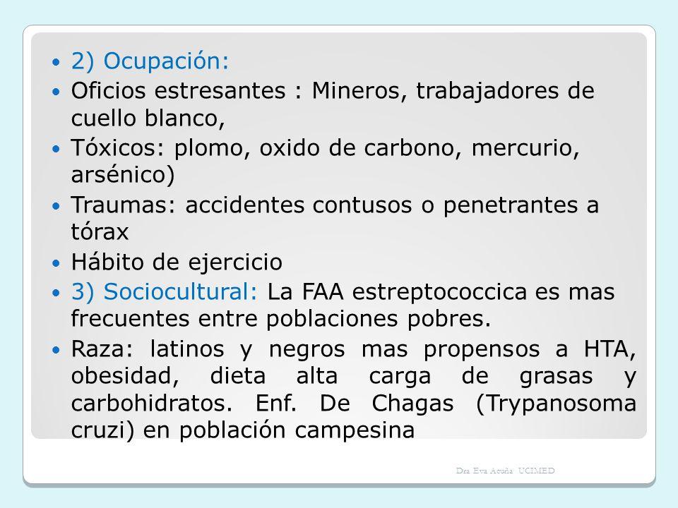 4) Alimentación y hábitos: grasas insaturadas ( dislipidemia), alcohol, uso de drogas psicoestimulantes, tabaco 5) Antecedentes Heredo- familiares En situaciones congénitas: antecedentes infecciones maternas (p.ej rubeola), uso de drogas teratogénicas (talidomina, oncológicas), aberraciones cromosómicas (Down, Turner, Klinefelter, etc.) Antecedente de cardiopatía isquémica en familiares cercanos - Antecedentes de miocardiopatías y arritmias (miocardiopatía hipertrófica, Sind Wolf Pakinson White) Dra Eva Acuña UCIMED
