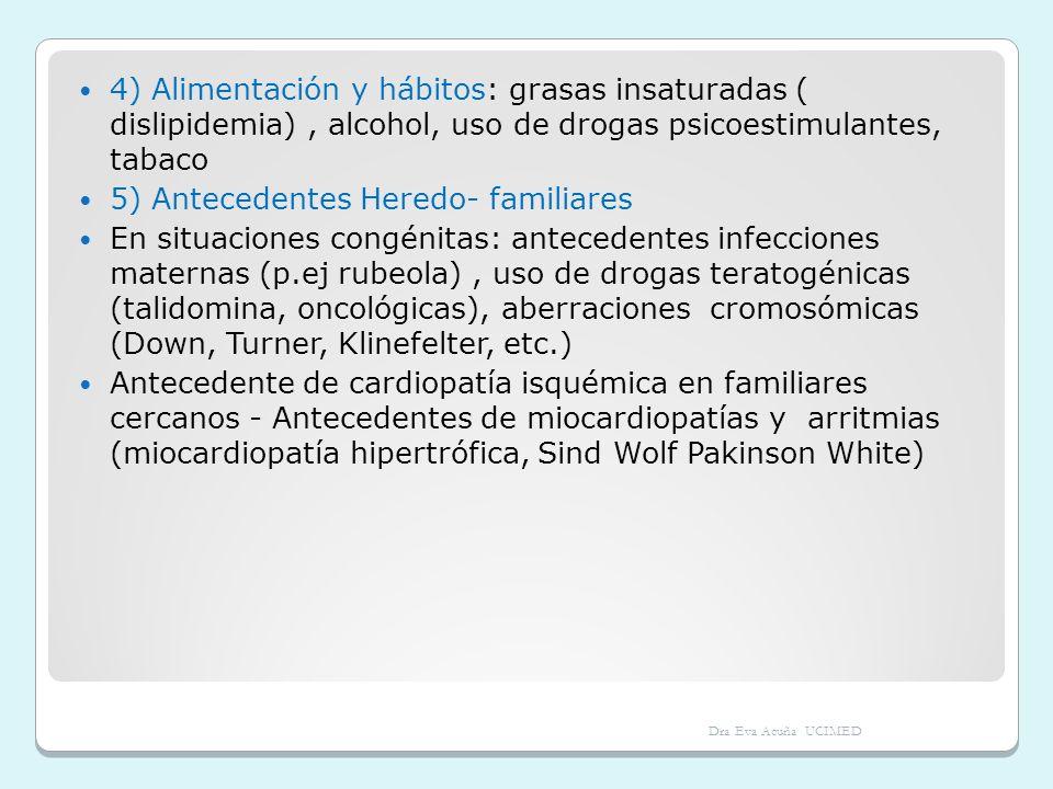 4) Alimentación y hábitos: grasas insaturadas ( dislipidemia), alcohol, uso de drogas psicoestimulantes, tabaco 5) Antecedentes Heredo- familiares En