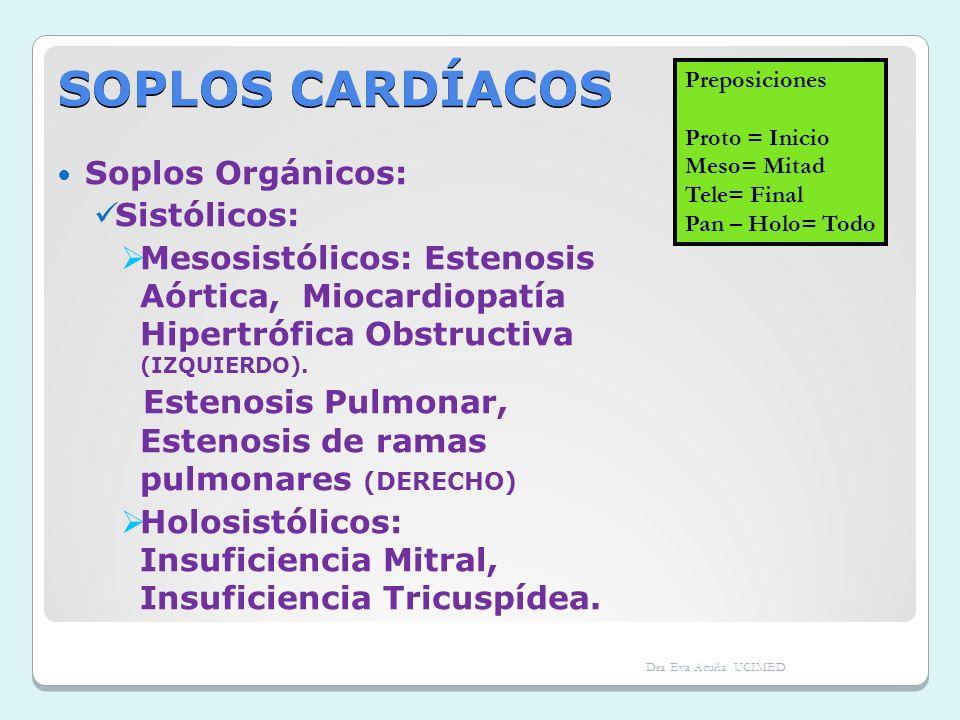 SOPLOS CARDÍACOS Soplos Orgánicos: Sistólicos: Mesosistólicos: Estenosis Aórtica, Miocardiopatía Hipertrófica Obstructiva (IZQUIERDO). Estenosis Pulmo