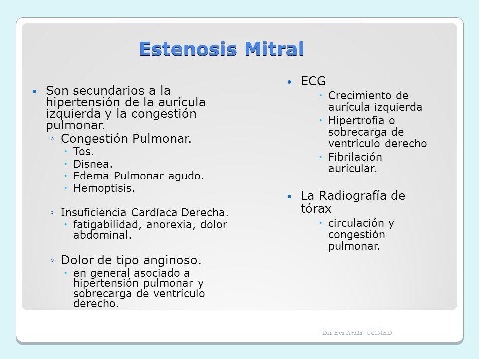 Estenosis Mitral Son secundarios a la hipertensión de la aurícula izquierda y la congestión pulmonar. Congestión Pulmonar. Tos. Disnea. Edema Pulmonar
