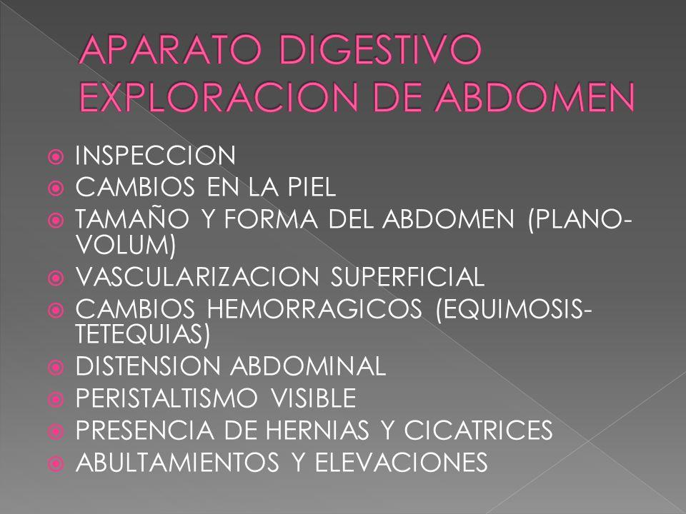 INSPECCION CAMBIOS EN LA PIEL TAMAÑO Y FORMA DEL ABDOMEN (PLANO- VOLUM) VASCULARIZACION SUPERFICIAL CAMBIOS HEMORRAGICOS (EQUIMOSIS- TETEQUIAS) DISTEN