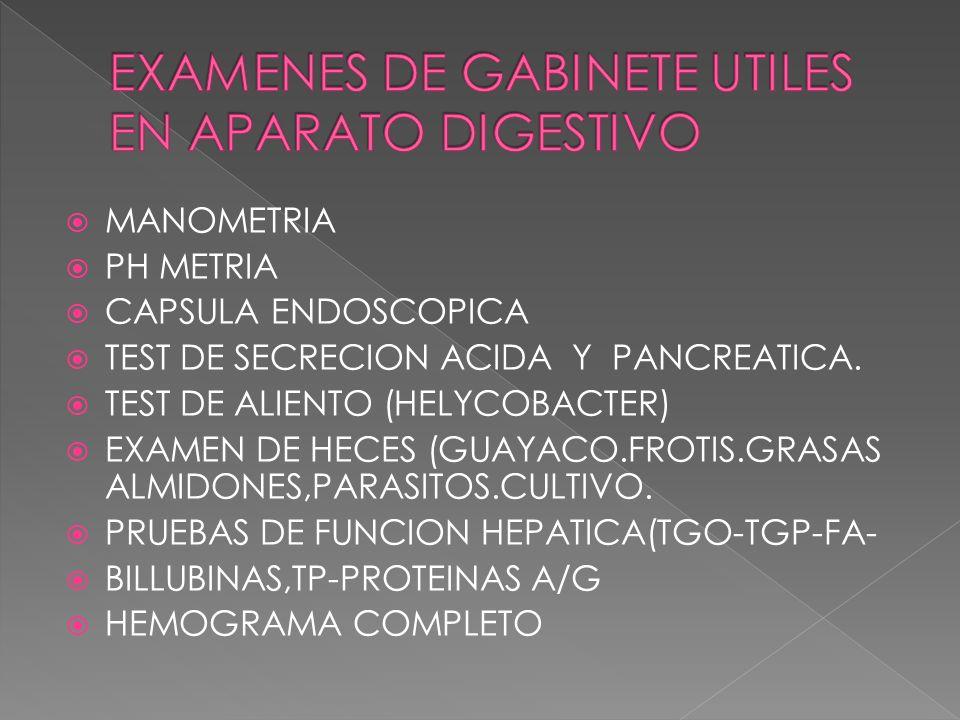 MANOMETRIA PH METRIA CAPSULA ENDOSCOPICA TEST DE SECRECION ACIDA Y PANCREATICA. TEST DE ALIENTO (HELYCOBACTER) EXAMEN DE HECES (GUAYACO.FROTIS.GRASAS