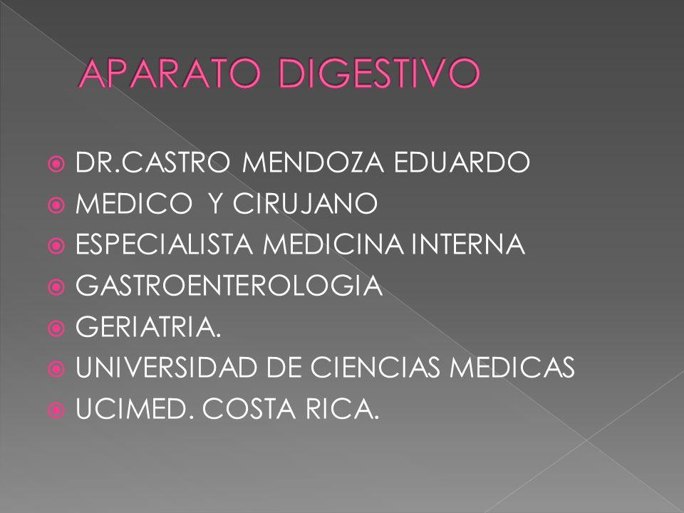 DR.CASTRO MENDOZA EDUARDO MEDICO Y CIRUJANO ESPECIALISTA MEDICINA INTERNA GASTROENTEROLOGIA GERIATRIA. UNIVERSIDAD DE CIENCIAS MEDICAS UCIMED. COSTA R