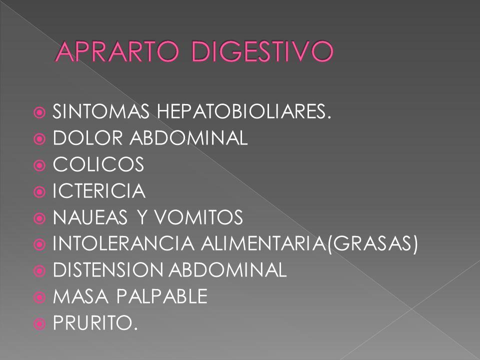 SINTOMAS HEPATOBIOLIARES. DOLOR ABDOMINAL COLICOS ICTERICIA NAUEAS Y VOMITOS INTOLERANCIA ALIMENTARIA(GRASAS) DISTENSION ABDOMINAL MASA PALPABLE PRURI