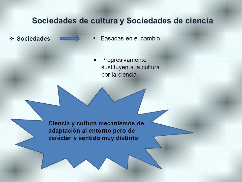 Sociedades de cultura y Sociedades de ciencia Sociedades Basadas en el cambio Progresivamente sustituyen a la cultura por la ciencia Ciencia y cultura