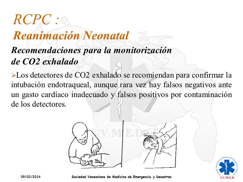 09/02/2014 Sociedad Venezolana de Medicina de Emergencia y Desastres Los detectores de CO2 exhalado se recomiendan para confirmar la intubación endotr