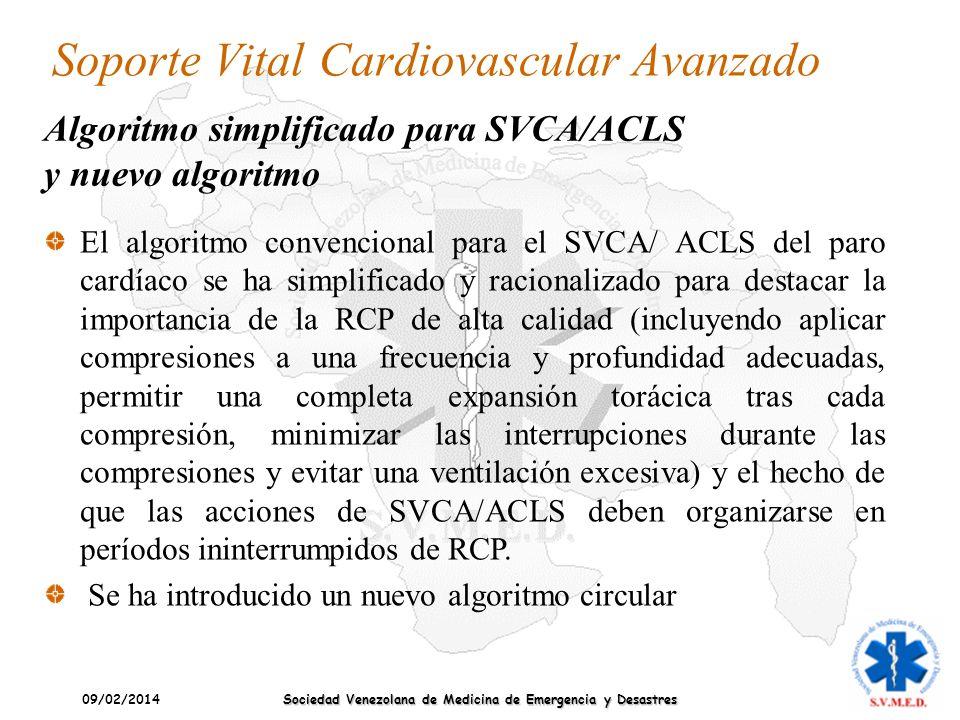 09/02/2014 Sociedad Venezolana de Medicina de Emergencia y Desastres Soporte Vital Cardiovascular Avanzado El algoritmo convencional para el SVCA/ ACL