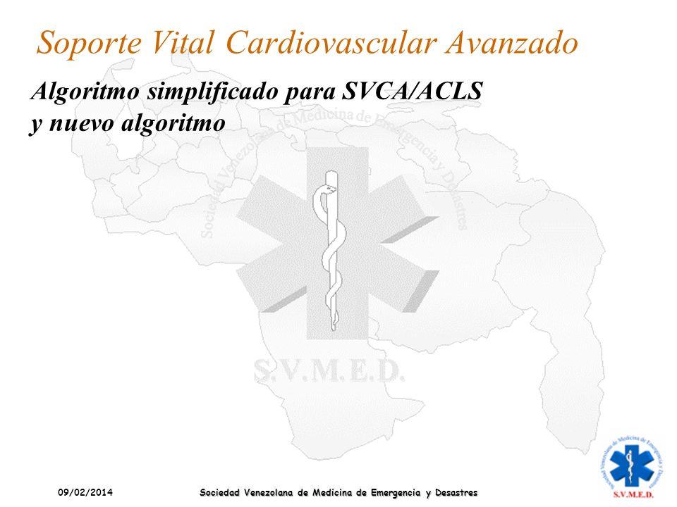 09/02/2014 Sociedad Venezolana de Medicina de Emergencia y Desastres Soporte Vital Cardiovascular Avanzado Algoritmo simplificado para SVCA/ACLS y nue