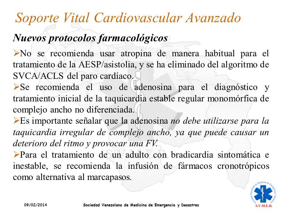 09/02/2014 Sociedad Venezolana de Medicina de Emergencia y Desastres Soporte Vital Cardiovascular Avanzado No se recomienda usar atropina de manera ha