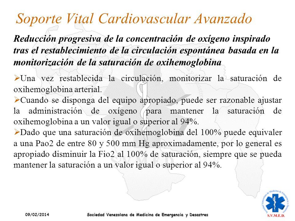 09/02/2014 Sociedad Venezolana de Medicina de Emergencia y Desastres Soporte Vital Cardiovascular Avanzado Una vez restablecida la circulación, monito