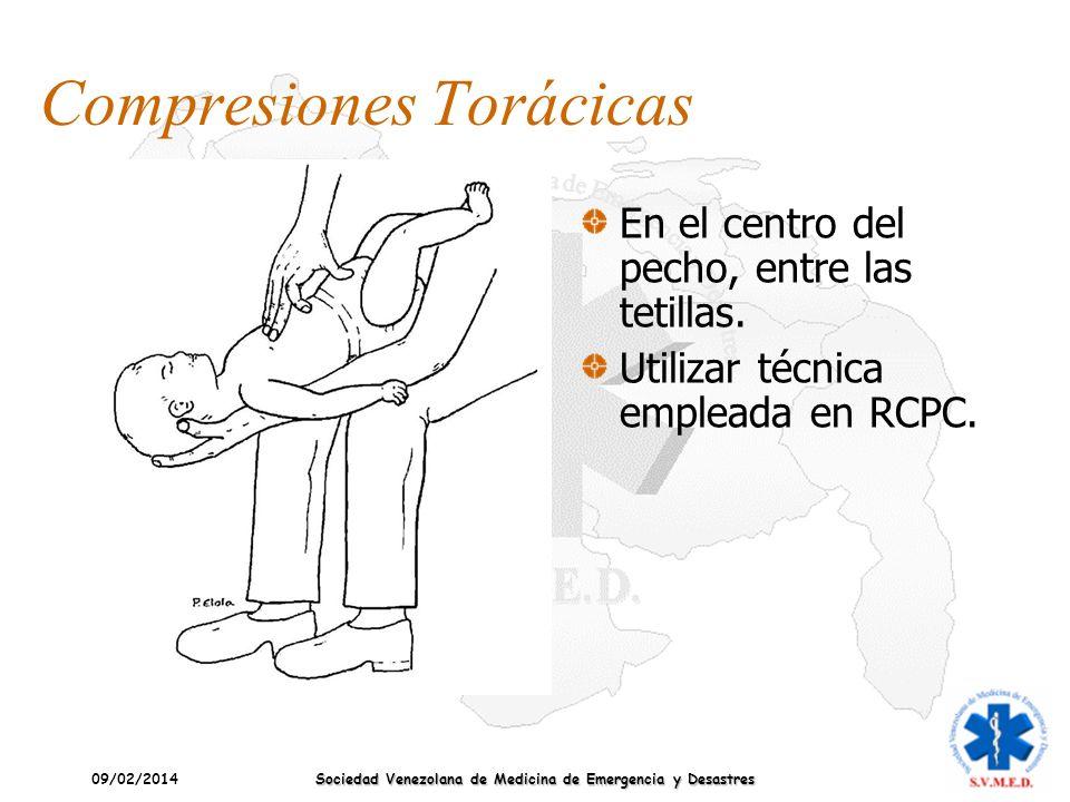 09/02/2014 Sociedad Venezolana de Medicina de Emergencia y Desastres Compresiones Torácicas En el centro del pecho, entre las tetillas. Utilizar técni