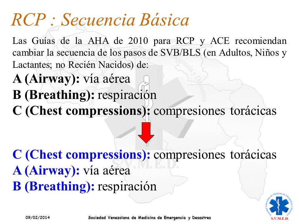09/02/2014 Sociedad Venezolana de Medicina de Emergencia y Desastres RCP : Secuencia Básica Las Guías de la AHA de 2010 para RCP y ACE recomiendan cam
