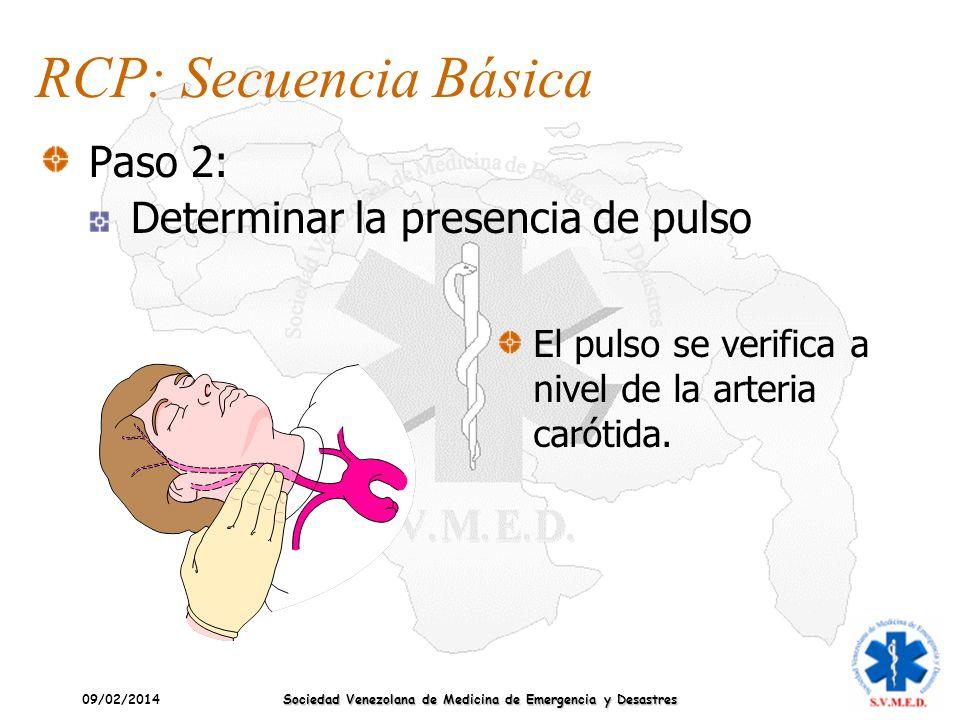 09/02/2014 Sociedad Venezolana de Medicina de Emergencia y Desastres El pulso se verifica a nivel de la arteria carótida. RCP: Secuencia Básica Paso 2